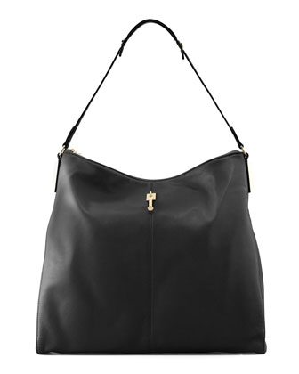 Lizard-Embossed Leather Hobo Bag
