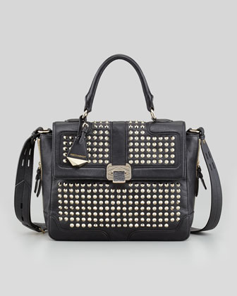 Elle Studded Leather Satchel Bag, Black