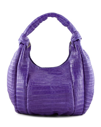 Crocodile Knotted-Handle Hobo Bag, Purple