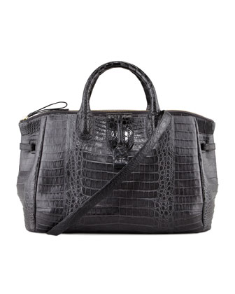 Center-Zip Crocodile Tote Bag, Gray