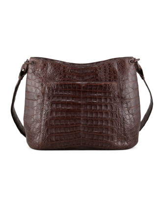 Crocodile Crossbody Zip-Top Bag, Brown