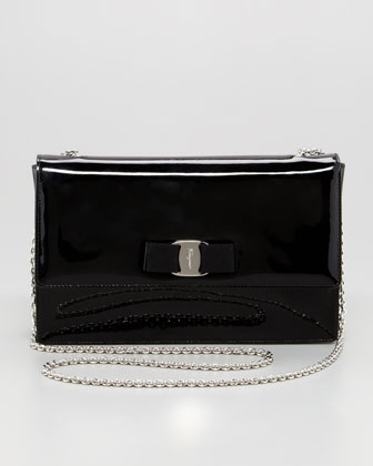 Ginny Patent Flap Shoulder Bag, Black
