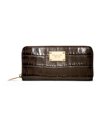 Jet Set Crocodile-Embossed Continental Wallet