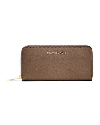 Jet Set Saffiano Continental Wallet, Dark Dune