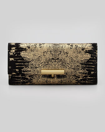 Printed Suede T-Pin Clutch Bag, Black/Gold