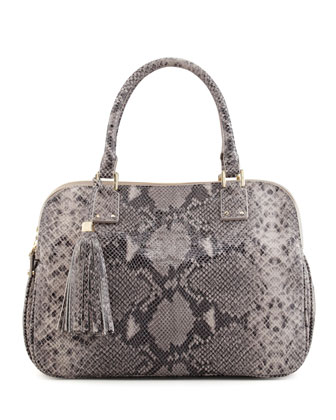 Thea Snake-Print Triple-Zip Tote Bag, Gray Opal