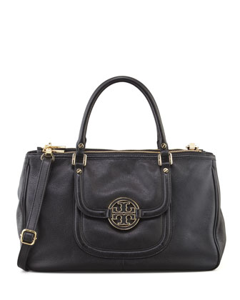 Amanda Double-Zip Tote Bag, Black