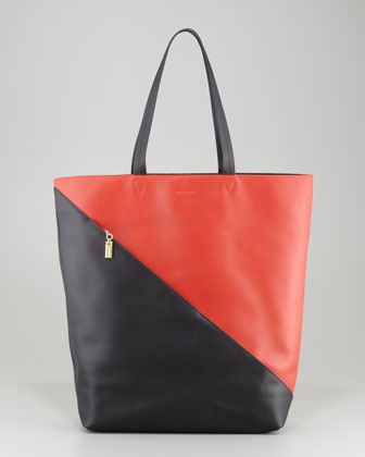 Infinite Colorblock Leather Tote Bag, Paprika/Black/Gold