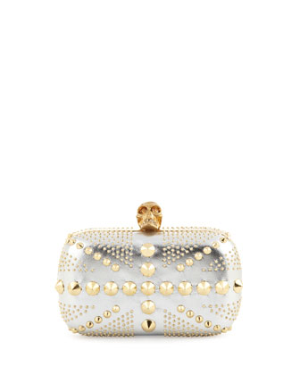 Union Jack Skull Metallic Clutch Bag, Silver/Golden