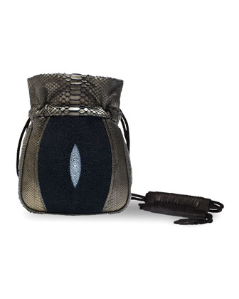Mignonne Python & Stingray Pouch Bag, Copper/Black