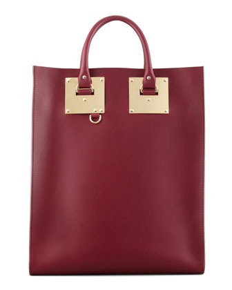 Signature Leather Tote Bag, Burgundy