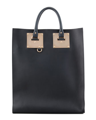Signature Leather Tote Bag,Black