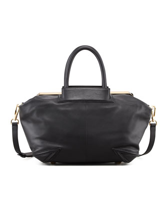 Sophia Leather Satchel Bag, Black