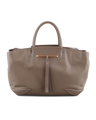 Grace East/West Leather Tote Bag, Taupe