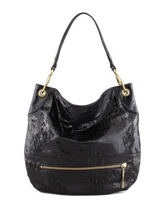 Lucy Crocodile-Embossed Shoulder Bag