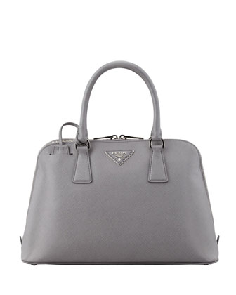 Saffiano Lux Two-Way Zip Satchel Bag, Gray (Marmo)