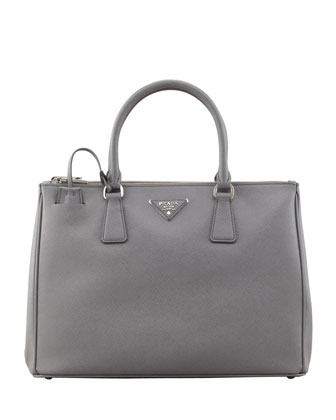 Saffiano Double-Zip Executive Tote, Gray (Marmo)