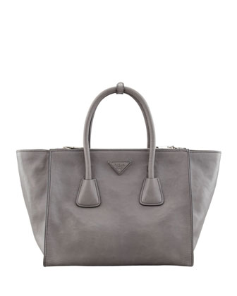 Glace Calf Large Twin Pocket Tote Bag, Gray