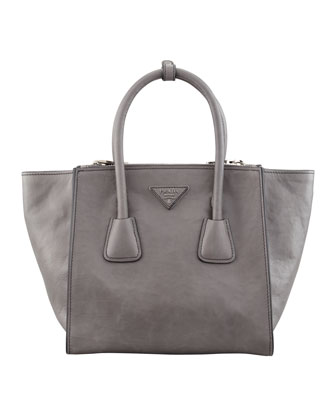 Glace Calf Twin Pocket Tote Bag, Gray (Marmo)