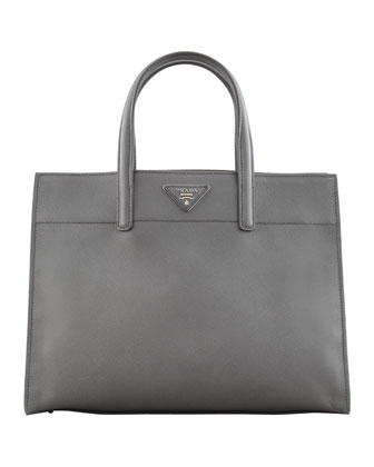 Saffiano Soft Triple-Pocket Tote Bag, Gray (Marmo)