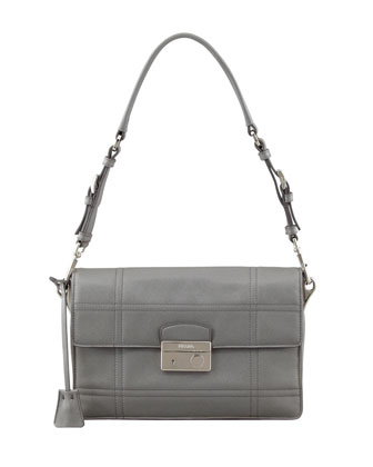Saffiano Soft Shoulder Bag, Gray