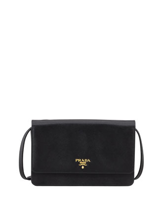 Saffiano Wallet Crossbody, Black