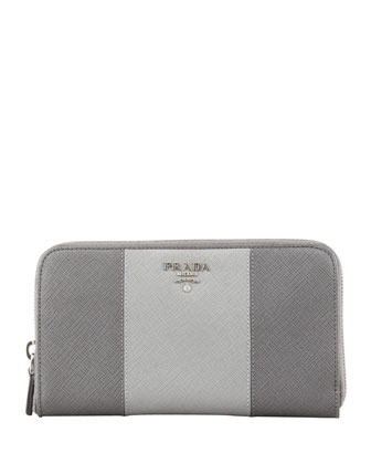 Saffiano Zip-Around Wallet, Gray Multi