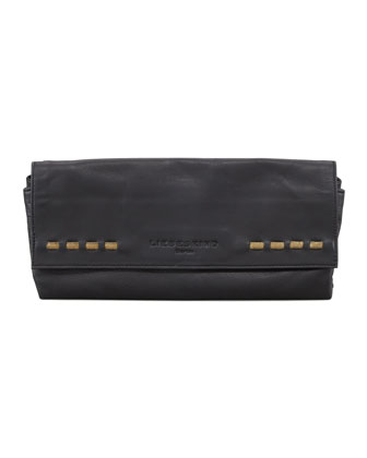 Trisha Leather Clutch Bag, Black