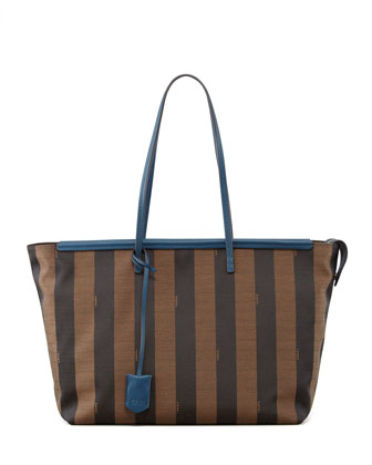 Pequin-Striped Roll Tote Bag, Brown/Blue