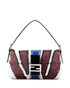 Zebra-Stripe Sequined Baguette Bag, Wine