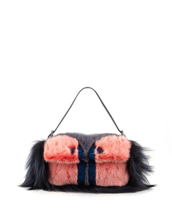 Fur Monster Baguette Bag, Pink