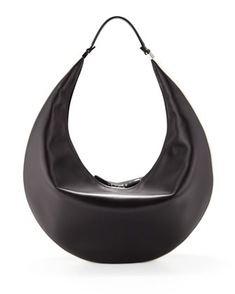 Bicolor Zip Hobo Bag, Black/White