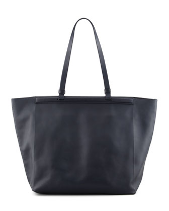 The Shopper Calfskin Tote Bag, Navy