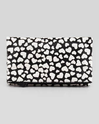 Hearts Me Calf Hair Fold-Over Clutch Bag, Black