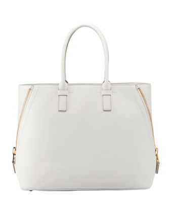Jennifer Trap Calfskin Tote Bag, White