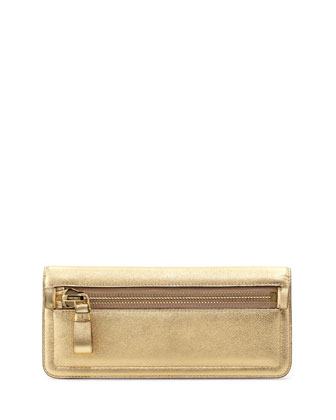 Jennifer Metallic Zip Clutch Bag, Golden