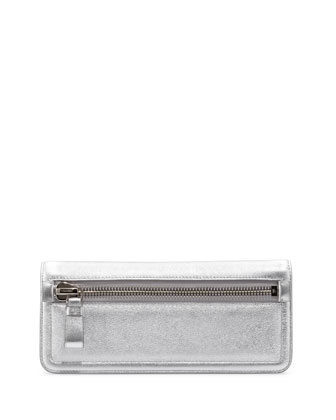 Jennifer Metallic Zip Clutch Bag, Silver