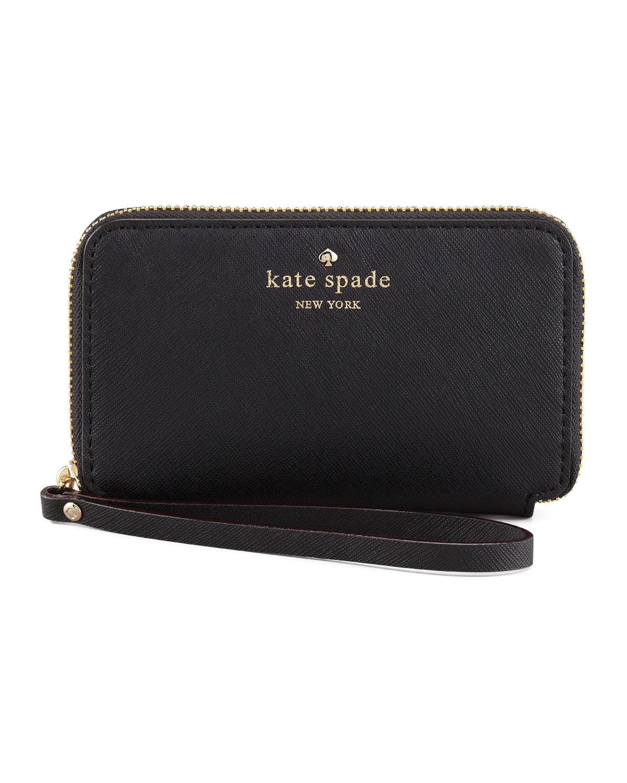 cherry lane louie wristlet wallet, black   kate spade new york