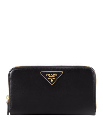Saffiano Triangle Zip-Around Wallet, Black