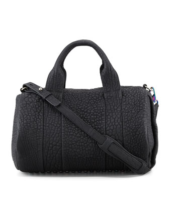Rocco Stud-Bottom Satchel, Black/Iridescent