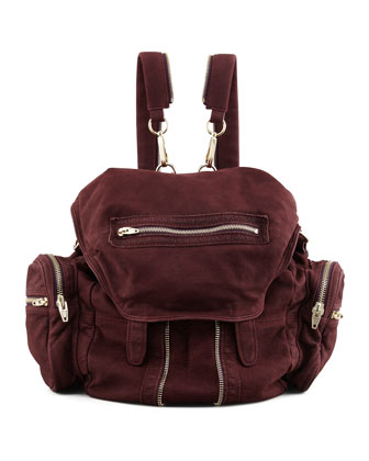 Marti Convertible Nubuck Backpack, Raisin