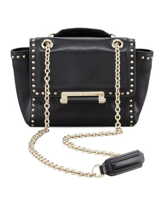 440 Mini Studded Flap-Top Crossbody Bag, Black