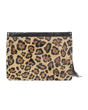 Celia Large Leopard-Print Calf Hair Clutch