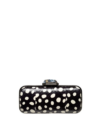 Demi Small Snakeskin Clutch Bag, Black/White