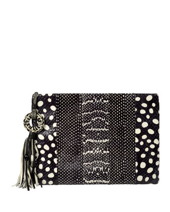 Celia Large Snakeskin Clutch Bag, Black/White