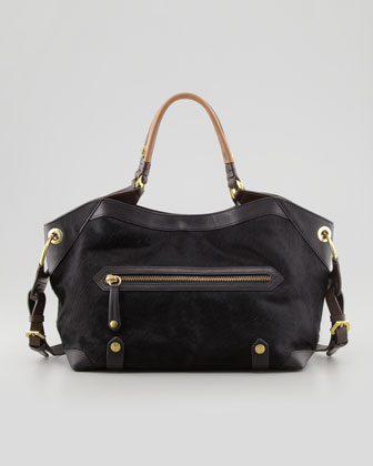 Kelly Calf Hair Satchel Bag, Black