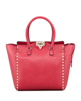 Rockstud Double-Handle Shoulder Tote Bag, Pink
