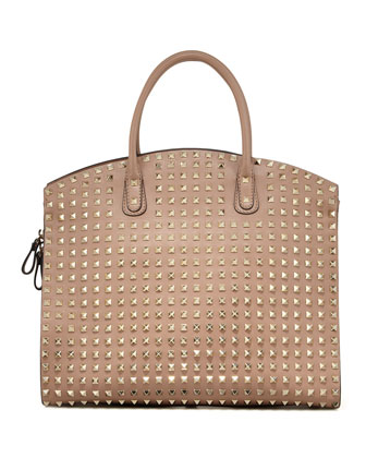 Rockstud Domed Executive Tote Bag, Tan