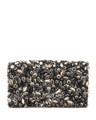 Be Jeweled Embellished Clutch Bag, Gray Multi