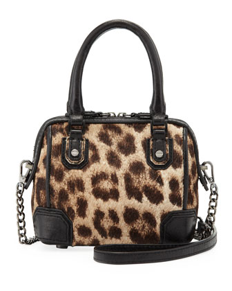Olivia Mini Calf Hair Shoulder Bag, Leopard